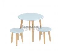 Детский комплект круглый стол и 2 круглых стула голубого цвета