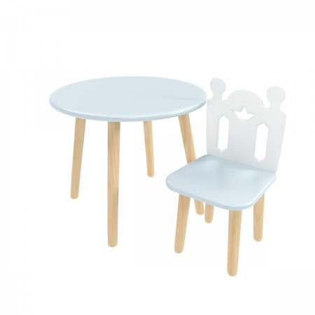 Детский комплект круглый стол и стул принц Артур голубого цвета, Лесная Фея