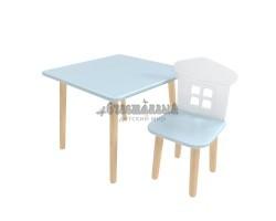 Детский комплект квадратный стол и стул домик голубого цвета
