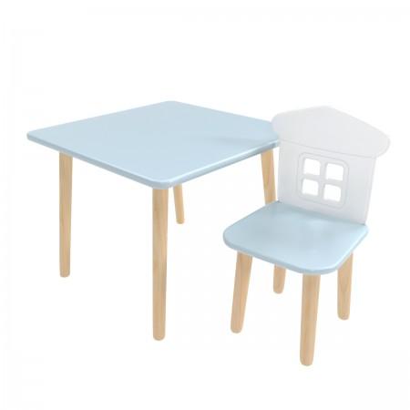 """Детский комплект стол """"Квадратный"""" и стул """"Домик"""" голубой, Bambini Letto"""