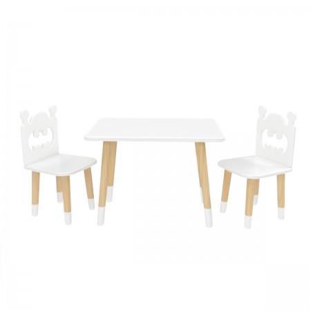 Детский комплект Прямоугольный стол и 2 стула Бэтмен белый, с носочками, Bambini Letto