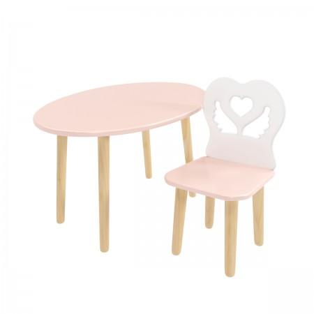 """Детский комплект стол """"Овальный"""" и стул """"Крылья с сердцем"""" розовый, Bambini Letto"""