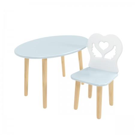 Детский комплект овальный стол и стул крылья с сердцем голубого цвета, Лесная Фея