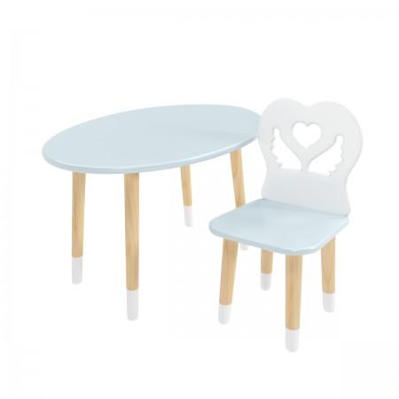 Детский комплект стол Овальный и стул Крылья с сердцем голубой, с носочками, Bambini Letto