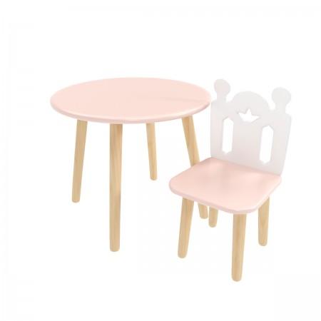 Детский комплект круглый стол и стул принц Артур розового цвета, Лесная Фея