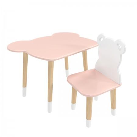Детский комплект стол и стул Мишка розовый, с носочками, Bambini Letto