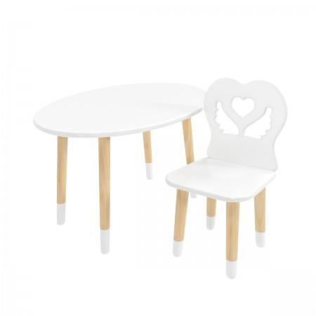 Детский комплект стол Овальный и стул Крылья с сердцем белый, с носочками, Bambini Letto