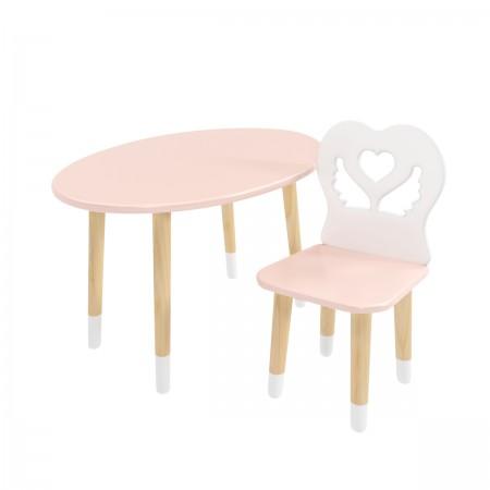 Детский комплект стол Овальный и стул Крылья с сердцем розовый, с носочками, Bambini Letto