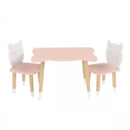 Детский комплект стол и 2 стула котик розового цвета с носочками, Лесная Фея