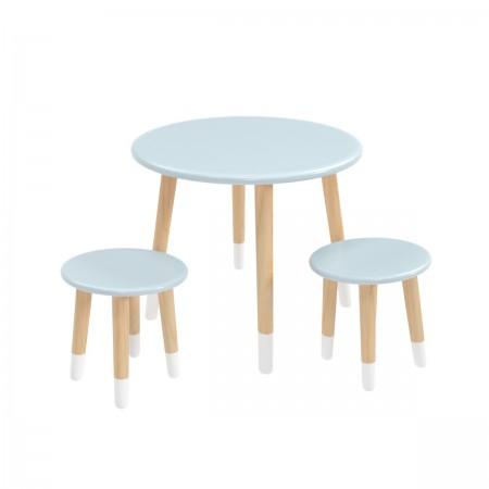 Детский комплект круглый стол и 2 круглых стула голубого цвета с носочками, Лесная Фея
