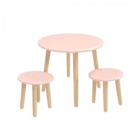 Детский комплект круглый стол и 2 круглых стула розового цвета, Лесная Фея