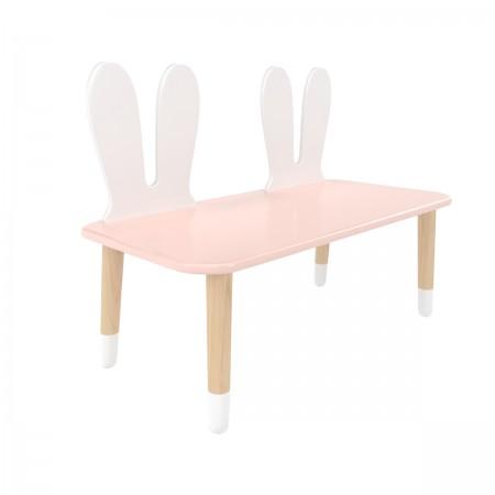Детская скамейка уши зайки розового цвета с носочками, Лесная Фея