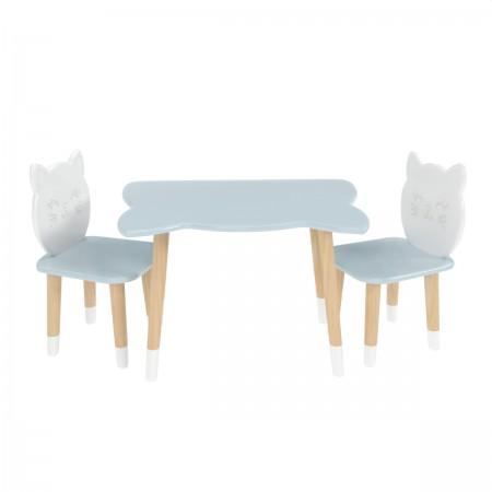 Детский комплект стол и 2 стула котик голубого цвета с носочками, Лесная Фея