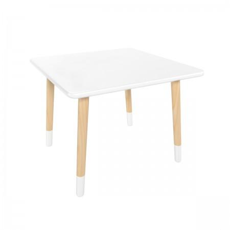 Детский квадратный стол белого цвета с носочками, Лесная Фея
