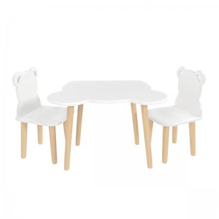 Детский комплект стол и 2 стула мишка белого цвета, Лесная Фея