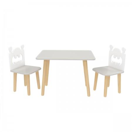 Детский комплект прямоугольный стол и 2 стула Бэтмен серого цвета, Лесная Фея