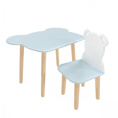 """Детский комплект стол и стул """"Мишка"""" голубой, Лесная Фея"""