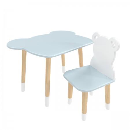 Детский комплект стол и стул мишка голубого цвета с носочками, Лесная Фея