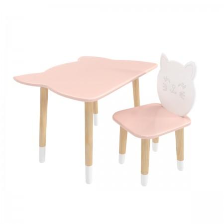 Детский комплект стол и стул котик розового цвета c носочками, Лесная Фея