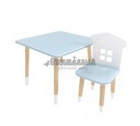 Детский комплект квадратный стол и стул домик голубого цвета с носочками