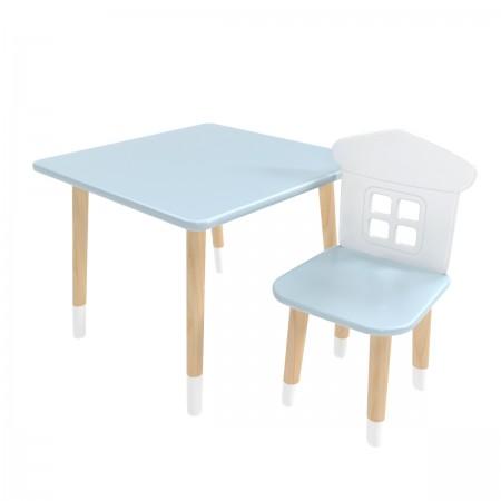 """Детский комплект стол """"Квадратный"""" и стул """"Домик"""" голубой, с носочками, Bambini Letto"""