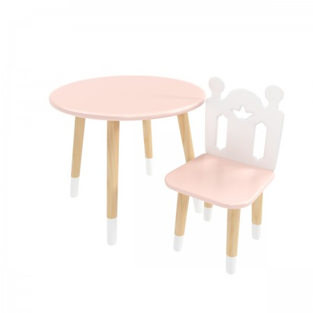 """Детский комплект стол """"Круглый"""" и стул """"Принц Артур"""" розовый, с носочками, Bambini Letto"""