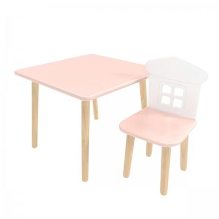 Детский комплект стол Квадратный и стул Домик розовый, Bambini Letto