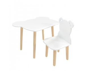 "Детский комплект стол и стул ""Мишка"" белый"