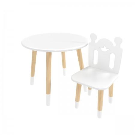 Детский комплект круглый стол и стул принц Артур белого цвета с носочками, Лесная Фея