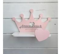 Детская полка корона розового цвета