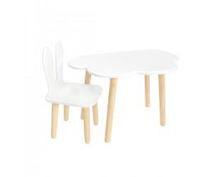 """Детский комплект стол """"Облако"""" и стул """"Уши зайца"""" белый"""