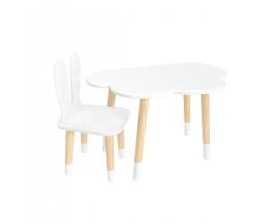 """Детский комплект стол """"Облако"""" и стул """"Уши зайца"""" белый, с носочками"""