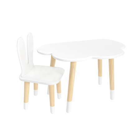 Детский комплект стол Облако и стул Уши зайца белый, с носочками, Bambini Letto