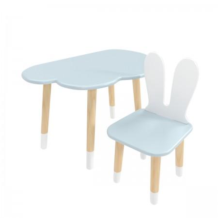 Детский комплект стол Облако и стул Уши зайца голубой, с носочками, Bambini Letto