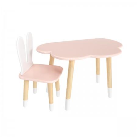 """Детский комплект стол """"Облако"""" и стул """"Уши зайца"""" розовый, с носочками, Лесная Фея"""