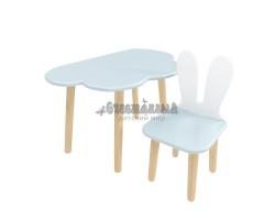 Детский комплект стол Облако и стул Уши зайца голубой