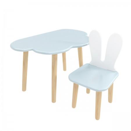 """Детский комплект стол """"Облако"""" и стул """"Уши зайца"""" голубой, Лесная Фея"""
