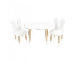 """Детский комплект стол """"Облако"""" и 2 стула """"Уши зайца"""" белый, с носочками"""