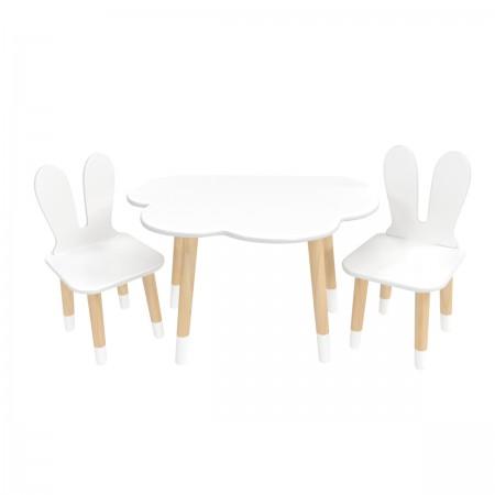 Детский комплект стол Облако и 2 стула Уши зайца белый, с носочками, Bambini Letto