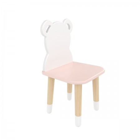 "Детский стул ""Мишка"" розовый, с носочками, Bambini Letto"