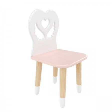 """Детский стул """"Крылья с сердцем"""" розовый, с носочками, Bambini Letto"""