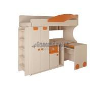 Детская кровать - чердак со столом и шкафом 4.4.2