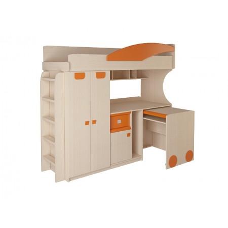 Детская кровать - чердак со столом и шкафом 4.4.2, Мебельная фабрика Корвет