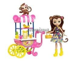 Кукла Энчантималс Мерит - Девочка обезьянка и ее питомец с фруктовой тележкой