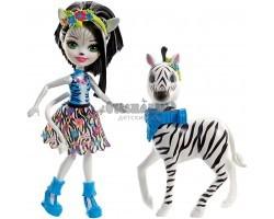 Кукла Энчантималс Зелена - Девочка зебра с питомцем