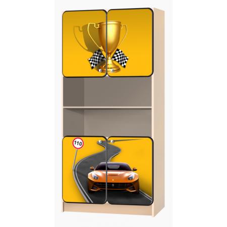 Carobus стеллаж распашной - Лого желтый, Carobus