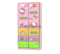 Шкаф детский «Китти Хеллоу Радуга» светло-розовый