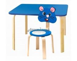 Комплект детской мебели Мордочки с голубым столиком и стулом