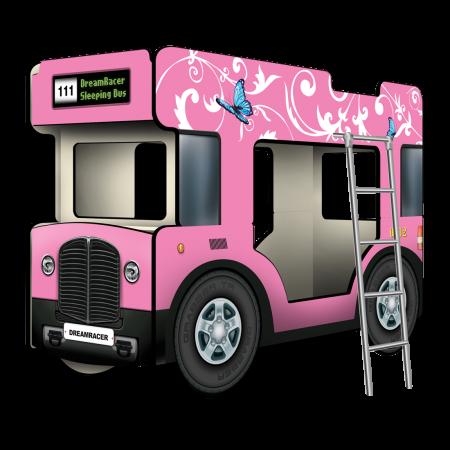 """Двухъярусная кровать-Автобус СлипинБас """"Бабочки"""" розовый, Carobus"""