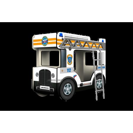 """Двухъярусная кровать-Автобус МикроБас """"МЧС"""" белый, Carobus"""